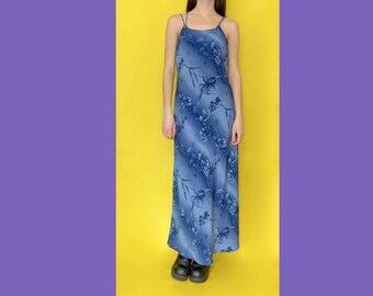 Vintage 90s Y2k 2000s Blue and Floral Striped Spaghetti Strap Maxi Dress Size Medium Large