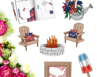 Watercolor Patriotic Die-Cuts