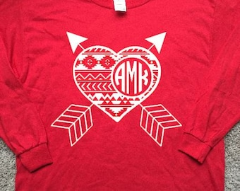 Aztec Heart and Arrows with Circle Monogram Long Sleeve Tshirt for Valentine's Day--Youth and Adult