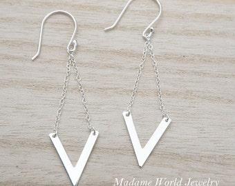 Sterling Silver Chevron Dangling Earrings, Minimalist Modern Retro Earrings