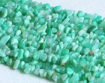 "Natural Genuine Grass Green Chrysoprase Australia Jade Chip Loose Gemstone Beads 3x8mm 16"" 05346"