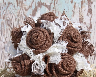 Brown Burlap and Lace Toss or flower Girl Bouquet / ready to ship wedding arrangements with burlap fabric flowers