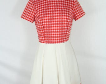 Pleated Plaid Country Western Cowgirl Vintage Red & White Dress