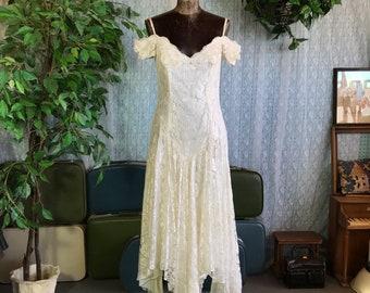 White 80s Wedding Gown Prom Dress Off Shoulder Drop Waist Lace ZUM ZUM