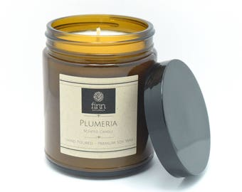 Hand Poured Premium PLUMERIA Scented Soy Candle 9 oz