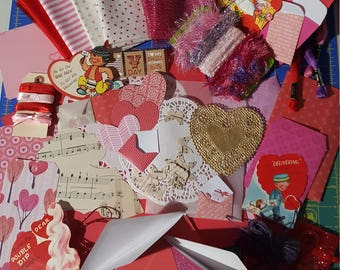 Valentines Junk Journal Kit # 3 with Vintage Valentine cards/ Valentines Paper Ephemera, Scrap-booking Embellishment's/ over 100 piece's