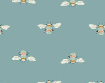Art Gallery Fabrics - Maureen Cracknell Garden Dreamer Bumble Buzz in Blue Fabric by the Yard - Bee Fabric - Classic Preppy Summer Fabric