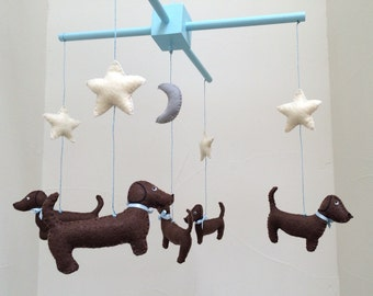 Dachshund Mobile - Baby Mobile - Baby Decor - Nursery Decor - Wiener Dog - Baby Crib Mobile - Shower Gift - Baby Gift