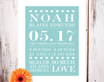 """Personalized Birth Announcement Art Print """"So Much Love"""""""