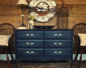 Navy Blue U0026 Teal Antique French Provincial Dresser, Shabby Chic Painted  Gustavian Dresser, Painted Furniture, Change Table Dresser, Entryway