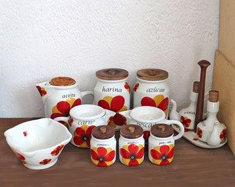 Vintage kitchen canisters - Retro kitchen canister set - Flower power - Storage set - Kitchen storage  Oil vinegar cruet mortar flour sugar