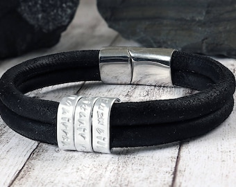 Leather men bracelet - Secret message bracelet - Gift for men - Anniversary gifts for men - Leather Anniversary for him - leather bracelet