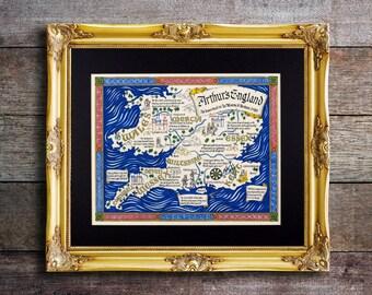 Map of King Arthur's England // Camelot Map // Thomas Mallory's Le Morte d'Arthur