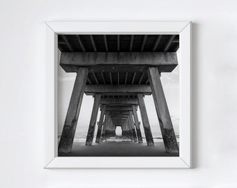 Pier photo print - Black and white photography - Tybee Island - Square ocean beach print - Large coastal wall art - Fathers Day gift