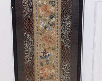 Antique Chinese Floral Embroidered Silk Panel