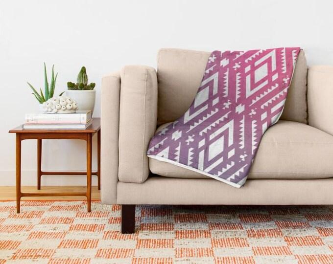 Pink Tribal Print Fleece Throw Blanket - Bedding - Pink - Purple - Yellow - Fleece Throw Blanket - Made to Order
