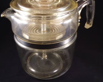 9 Cup Pyrex Flameware Percolator  Lid W/Basket & Insert in Clear Heavy Pyrex Glass, Clear Glassware Cookware Pyrex