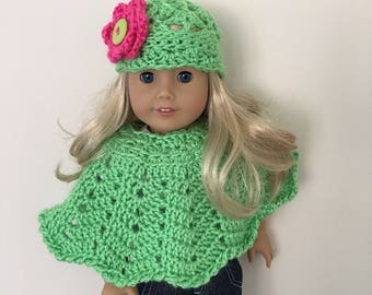 Green doll hat and poncho set - (will fit American Girl dolls), dolls clothing, Doll, London girl, doll clothes