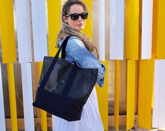Beach carry-all / Black mesh canvas tote / Sport bag