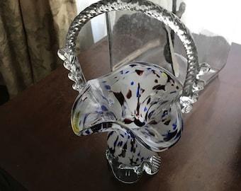 "Vintage Rumania 9"" Art Glass Blown Glass Basket Vivid Red, White, Blue Colors"
