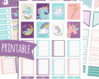 Unicorn Magic PRINTABLE Planner Stickers for Erin Condren Vertical | Sticker Printables | Happy Planner Stickers | Unicorn Stickers