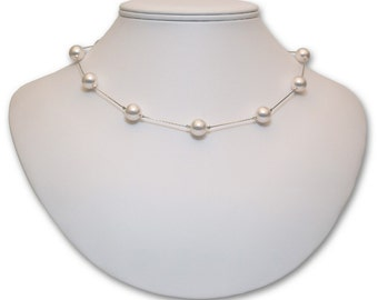 10mm Pearl Tin Cup Necklace