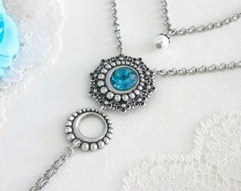 Silver layered necklace, Layered necklace, Silver necklace, Double strand necklace, Strand necklace, Double necklace, Double strand
