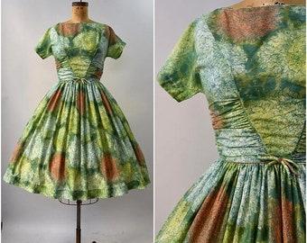 SPRING SALE 1950's Vicky Vaughn watercolor floral short sleeve dress • medium