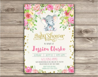 Elephant baby shower invitation girl baby shower invitation elephant baby shower invitation girl baby shower invitation baby girl elephant shower invites printable or printed nv7921 filmwisefo