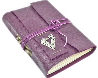 Leather Journal with Blank Paper, Purple Leather, Travel Journal, Diary, Handcrafted Diary, Heart Charm, Teachers Gift, Mother's Day Gift
