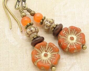 Boho Orange Flower Earrings in a Zen Stacked Style with Czech Glass Beads
