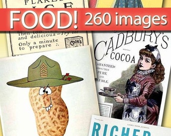Digital download images FOOD collection vintage labels decoupage vintage cocoa bread tomato sweet cake advertising household scrap / C142