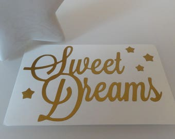 "Sticker gently ""SWEET DREAMS"" and its stars - matte gold"