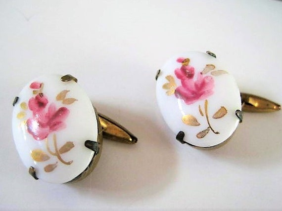 Guilloche Cuff Links, White Enamel, Vintage Ceramic, Pink Roses, Gold Tone Setting
