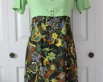 1960s Green Mod Dress Small