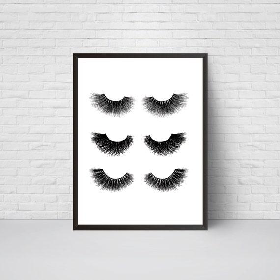 Eyelashes print wall art lashes decor make up glam salon print modern art poster lashes illustration black white minimalist lage print