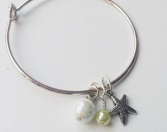 Starfish and Pearl Beachy Dainty Bangle Bracelet