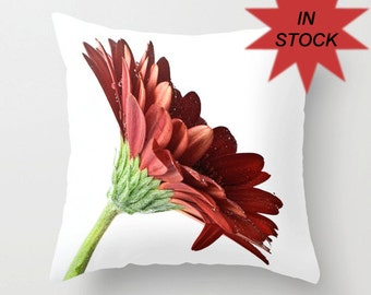 "Red Pillow Cover, 16"" Gerbera Daisy Cushion Case, Bedroom Floral Accent, Living Room Sofa Decoration, Country Chic, Botanical Art Decor"