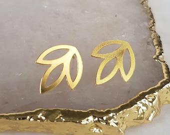 Minimalist Gold Earrings - Minimalist Jewelry, Geometric Earrings, Geometric Jewellery, Gold Ear Studs, Stud Earrings, Modern Earrings