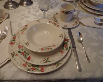 Homer Laughlin Seville Pink Violets Servce for 6 Restaurant Quality China Dishes, Cottage Chic Service For 6 Set of Dishes, Lead Free Dishes