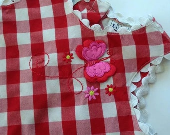 Vintage 1990's Girls 4/5 Basic Editions Butterfly and Gingham Dress