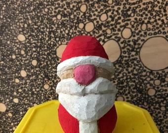 Handmade Wooden Santa Ornament