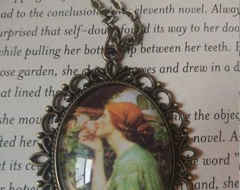 John William Waterhouse art glass pendant. Waterhouse cameo necklace. Victorian art necklace. John Waterhouse inspired gift.