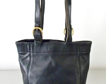 Vintage Black Leather Coach Buckle Bag, Refurbished Black Leather Medium Coach Tote Bag, Soho Collection, Large Vintage Shoulder Bag