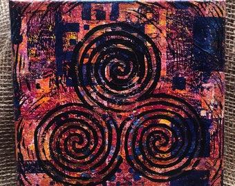 "Triple Spiral Monoprint 8""x8"". Red, yellow, blue canvas wall art."