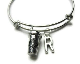 Coffee Bangle, Coffee Bracelet, Coffee Cup Bangle, Coffee Cup Bracelet, Bracelet For Coffee Lover, Coffee Lover Bracelet, Personalized