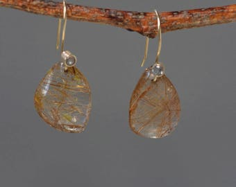 Rutilated Quartz Statement Earrings, Solid Gold Quartz Earrings, Quartz Earrings, Golden Dangle Earrings, Large Stone Earrings in Gold