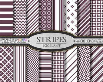 Eggplant Purple Stripe Digital Paper Pack - Printable Backgrounds for Scrapbook Design - Instant Download