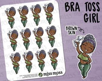 No Bra Curvy Girl Stickers, African American Black, Plus Size, Brown Skin - Free The Nipple, Freakin Weekend, FriYAY, Braless,