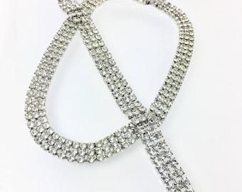Clear Rhinestone Choker Necklace, 1950's  Rhinestone Jewelry Set, Rhinestone Bracelet, Wedding Bridal Jewelry